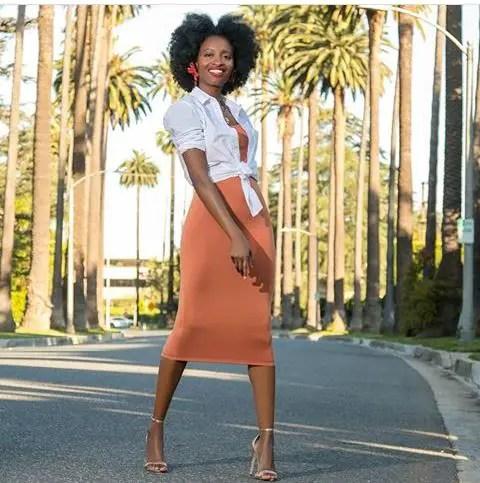 white top and print midi skirt