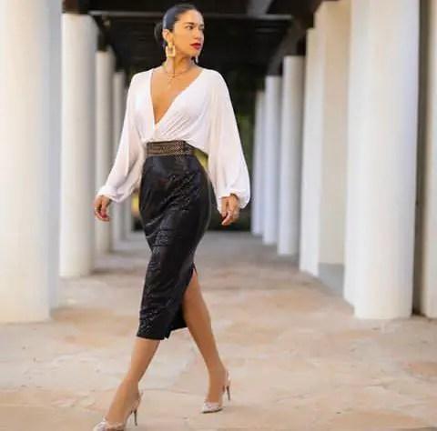 white top with black midi skirt
