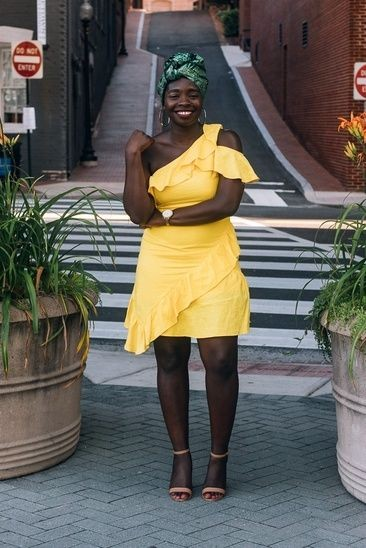 black lady in a yellow wrap dress - Outfits for Ladies with Big Belly