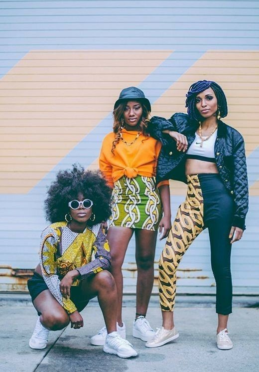 beautiful ladies in Afro-urban style outfit with sneakers