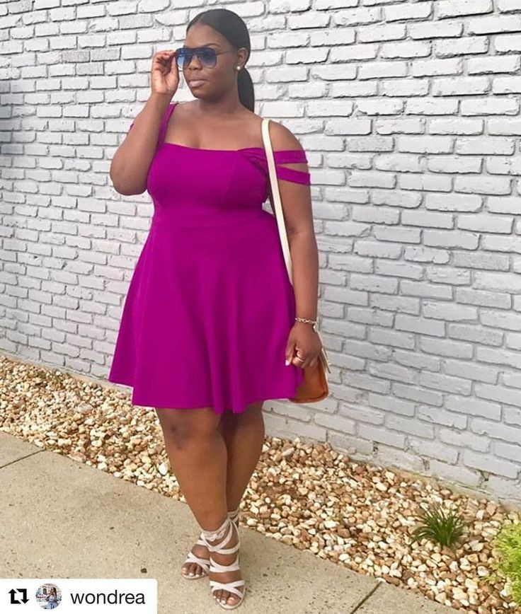 a lady in a purple flare short gown - Outfits for Ladies with Big Belly