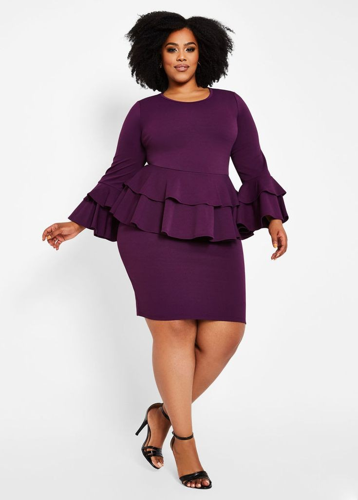 lady in purple peplum top dress - Outfits for Ladies with Big Belly