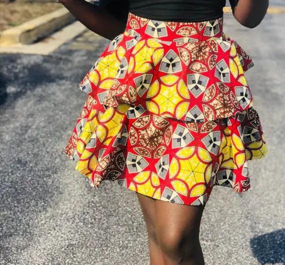 ankara layered skirt on a black lady