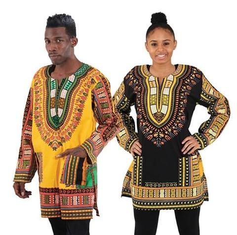 man and woman in colorful long sleeves tops