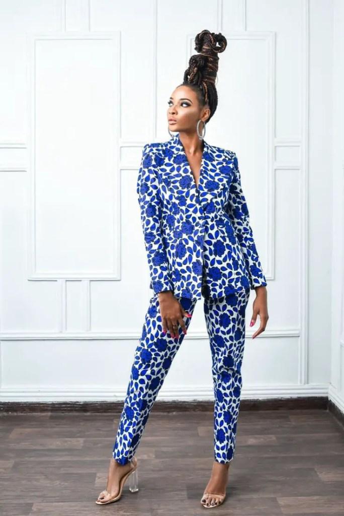 lady in blue ankara suit