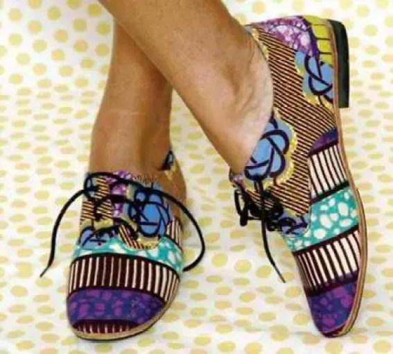 lady wearing ankara derby shoes