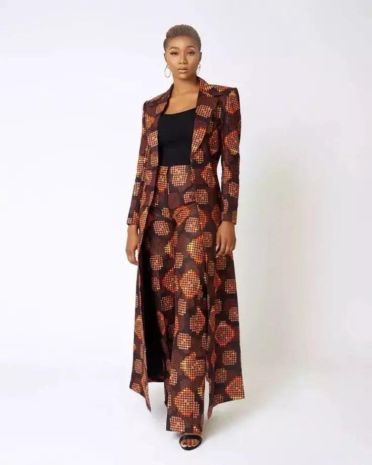 lady in long ankara suit