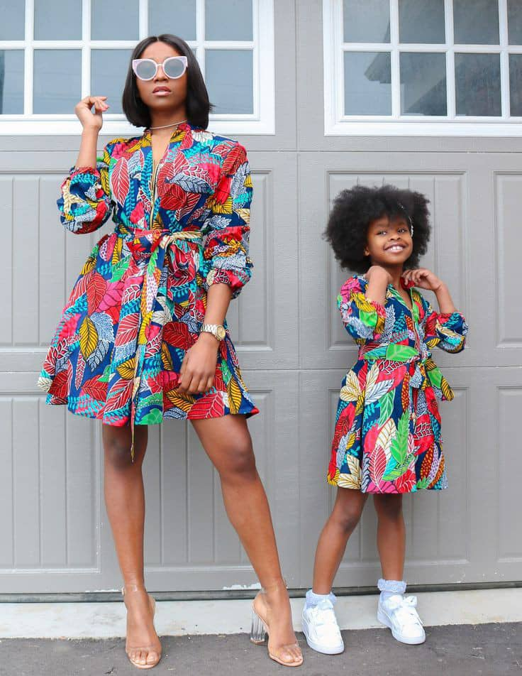 mother and daughter in ankara short gowns and sneakers
