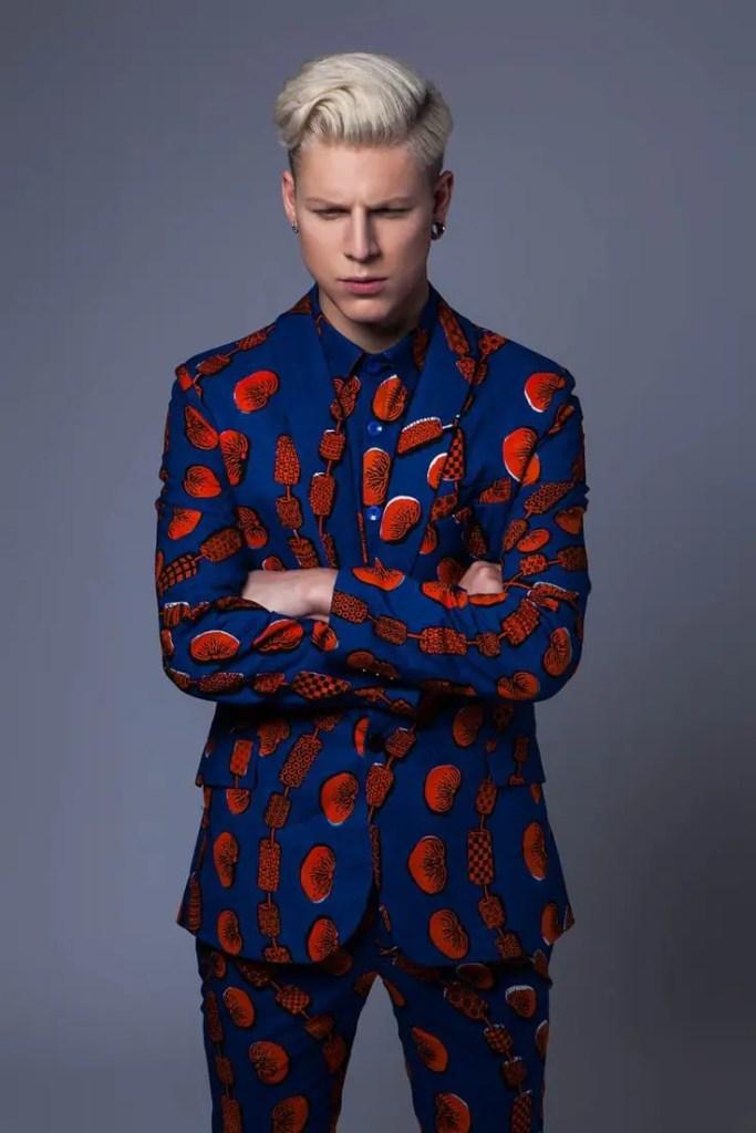 Caucasian man in ankara suit