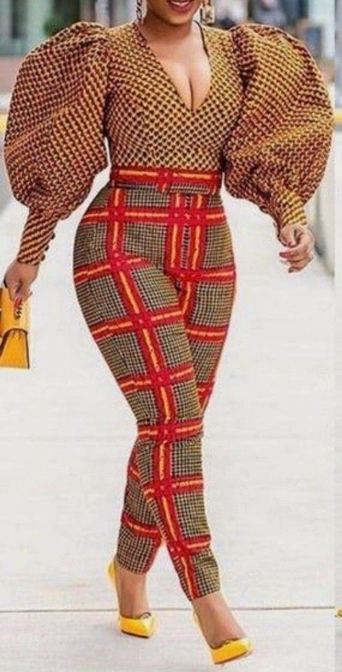 mix and voluminous sleeves ankara jumpsuit