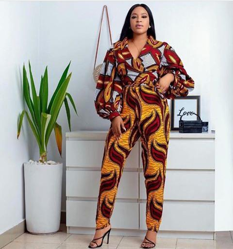 red and yellow mix and match ankara jumpsuit