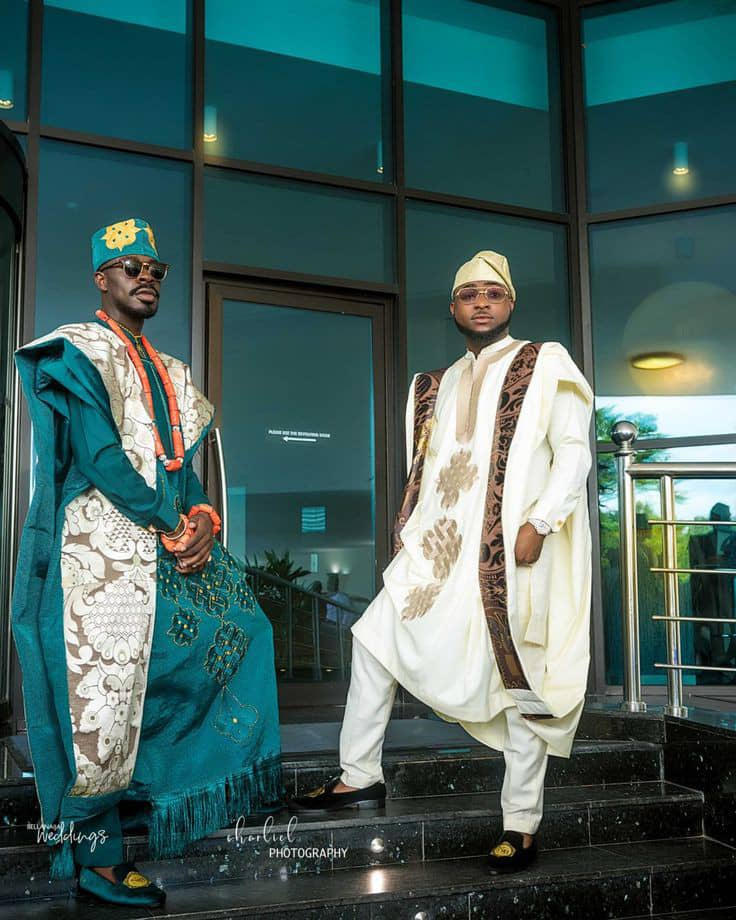 Davido and friend rocking beautiful agbada outfits