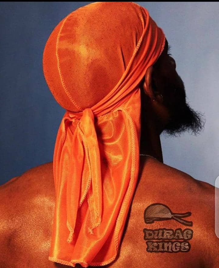 man in orange durag (back view)