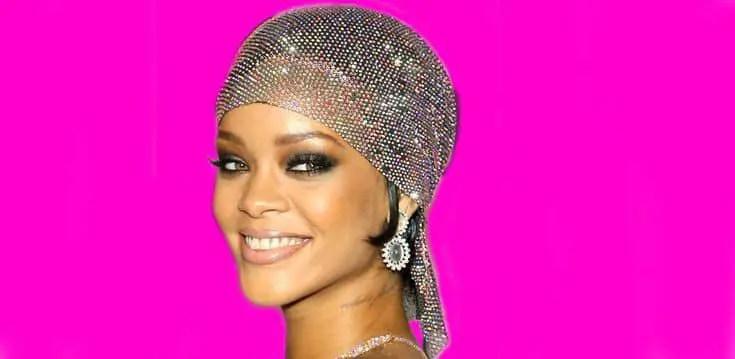Rihanna wearing a shinny durag