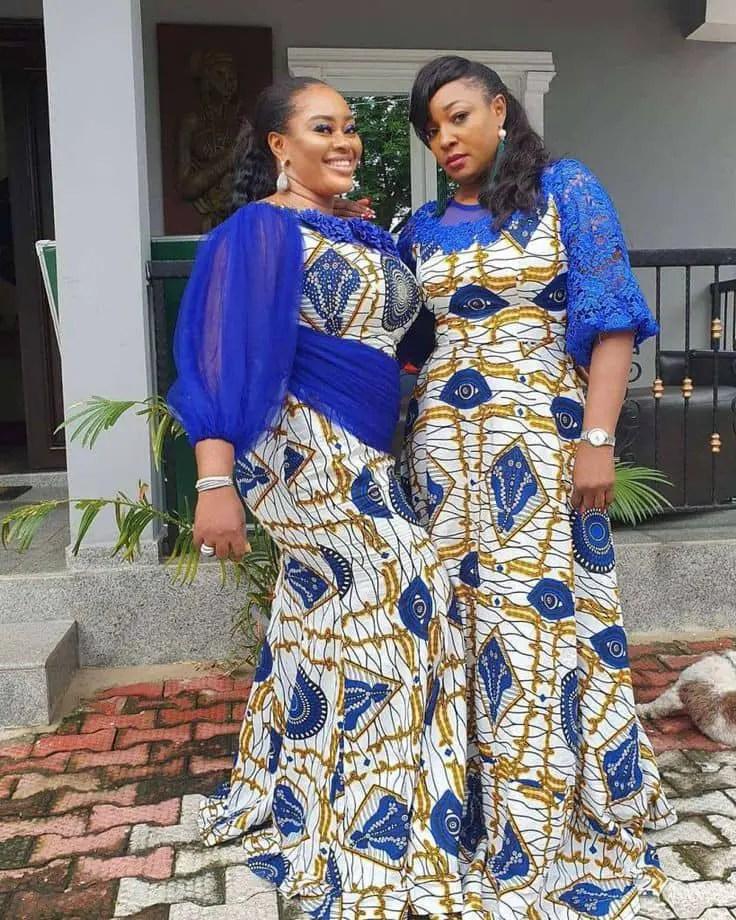 2 ladies rocking matching long ankara dresses