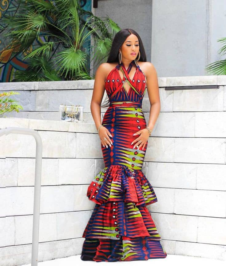 beautiful lady in a long ankara dress