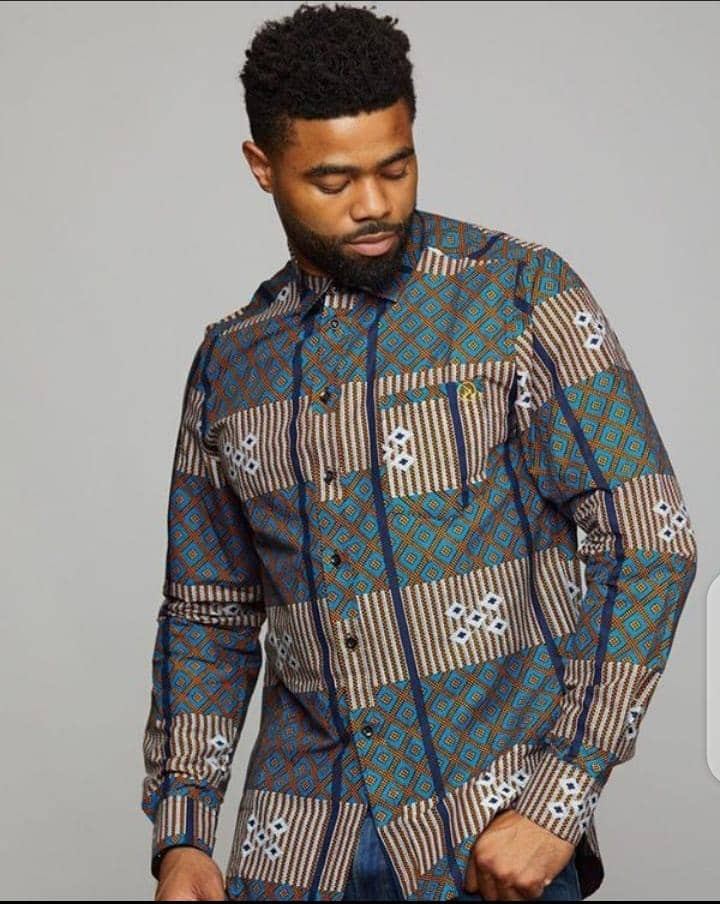 man wearing ankara long sleeves shirt