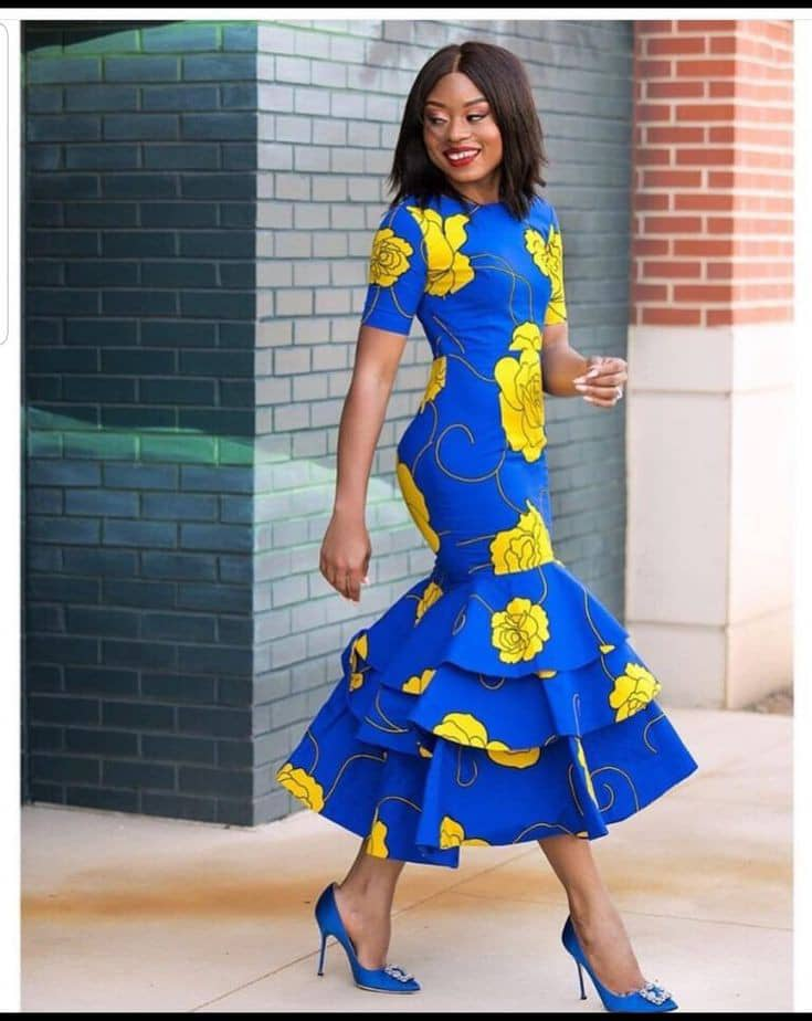 lady wearing ankara long gown at the office