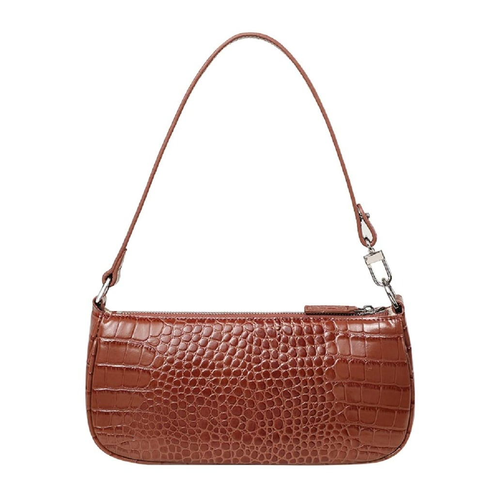 a brown baguette handbag