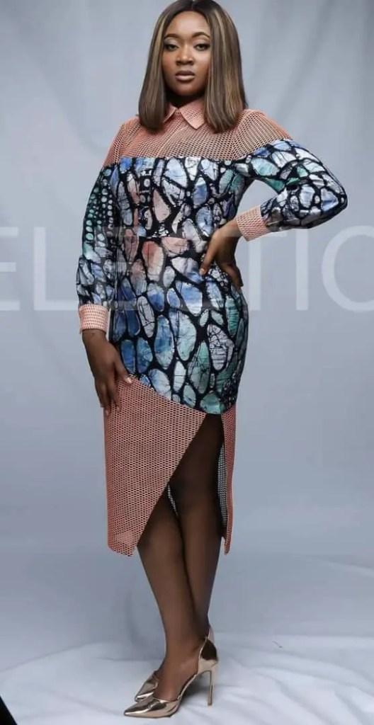 beautiful lady wearing adire pattern mixed with other fabrics