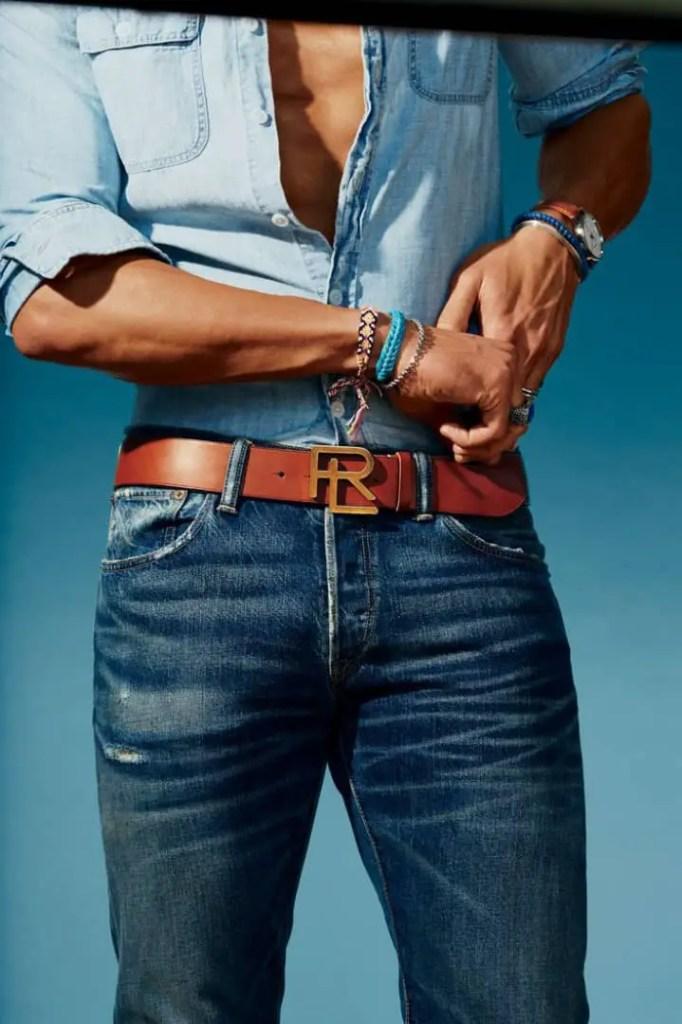 men's brown belt close up