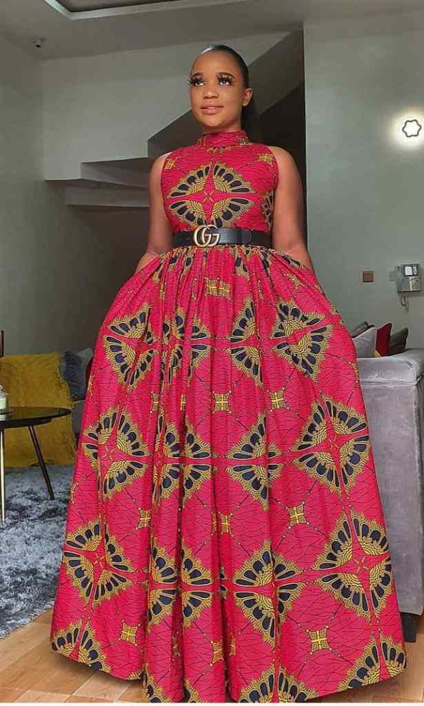 lady in a red ankara long gown