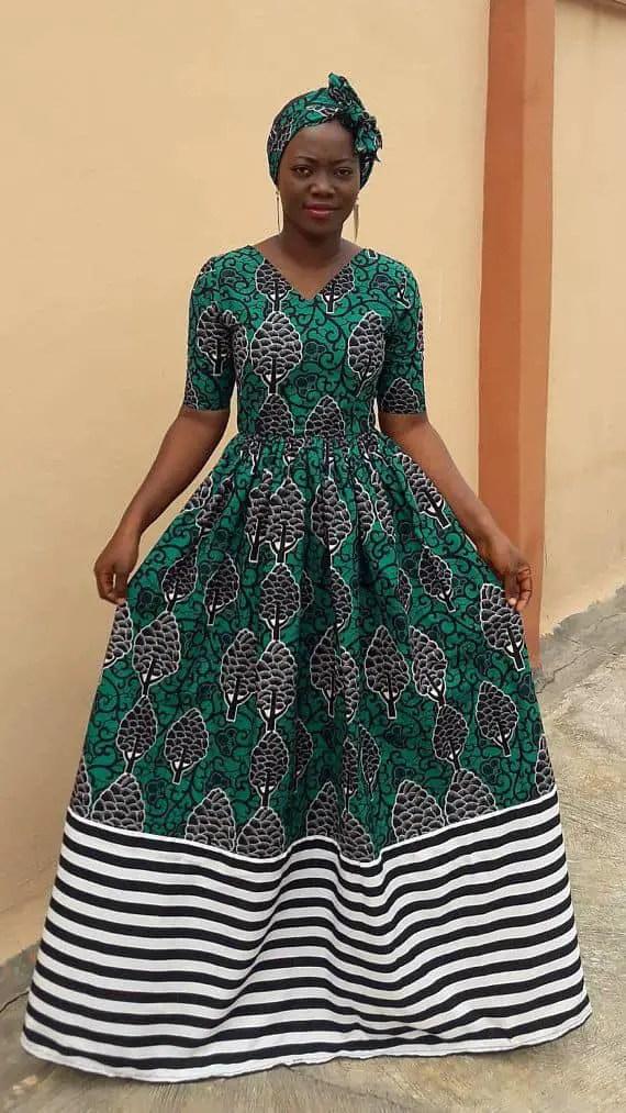 lady in a simple maxi ankara dress