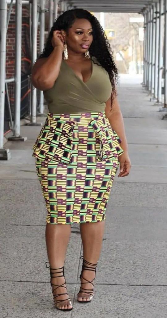 lady wearing ankara peplum dress