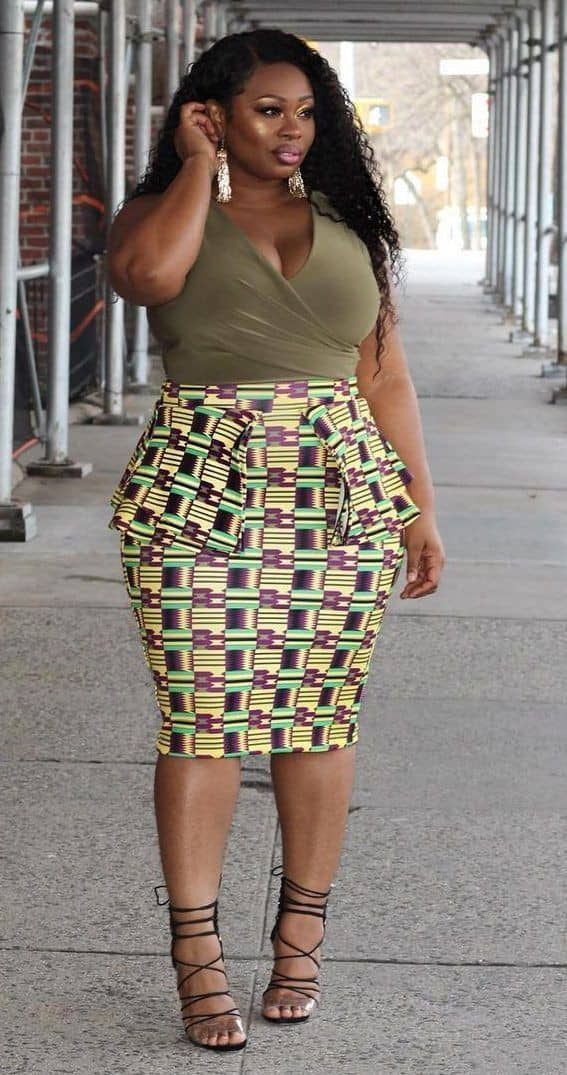 lady wearing ankara dress to cover her belly