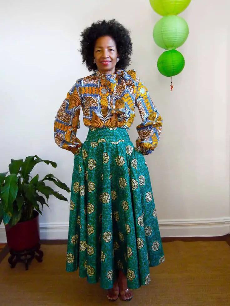 lady wearing flare ankara skirt