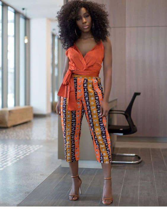 lady wearing ankara midi pants