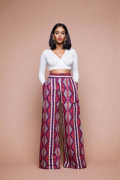 lady wearing free ankara pants