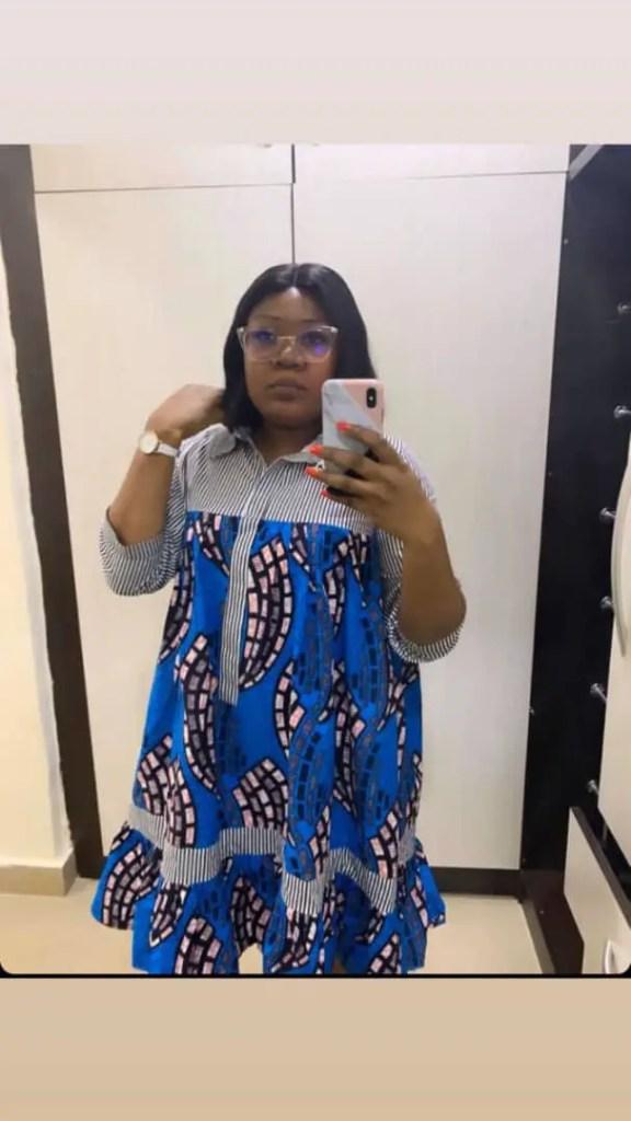 lady wearing ankara shift dress