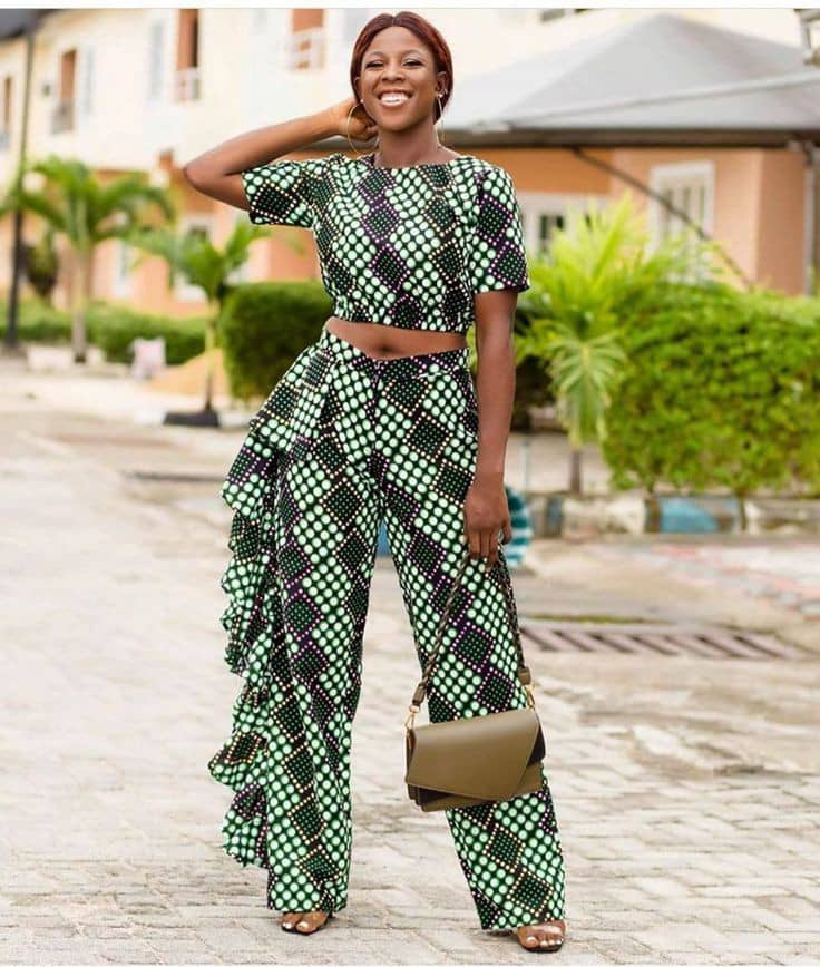 pretty lady wearing ankara top and pants