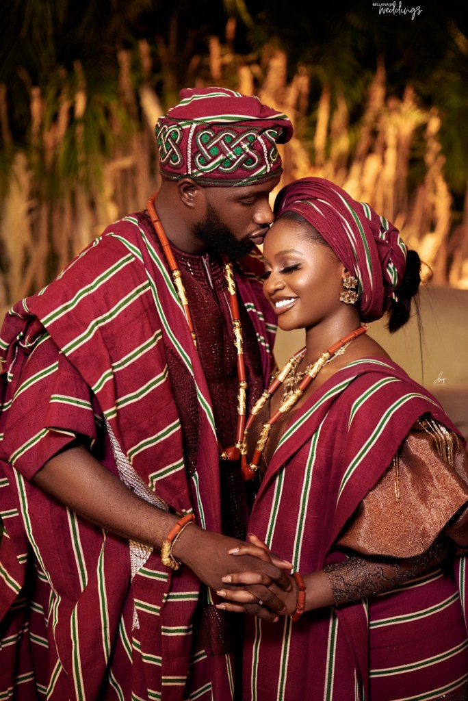 beautiful couple in aso oke outfit