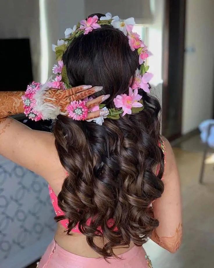 lady wearing a flower tiara
