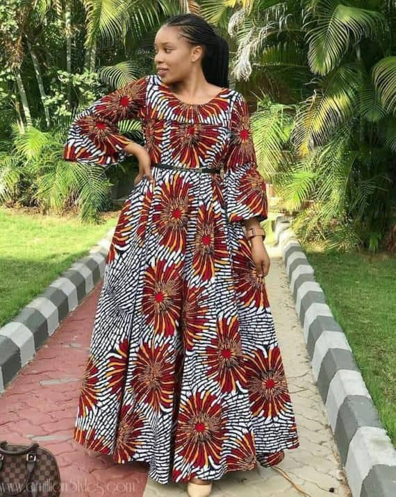 beautiful lady wearing long ankara gown