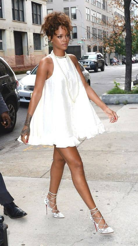 Rihanna rocking white flare short gownshort gown