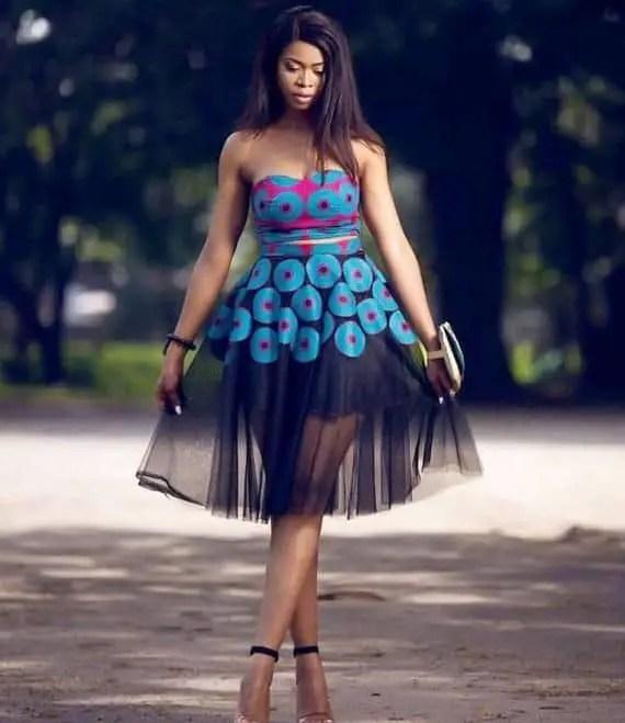beautiful lady in ankara and net dress