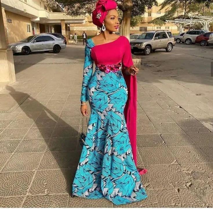 lady wearing ankara dress for aso ebi