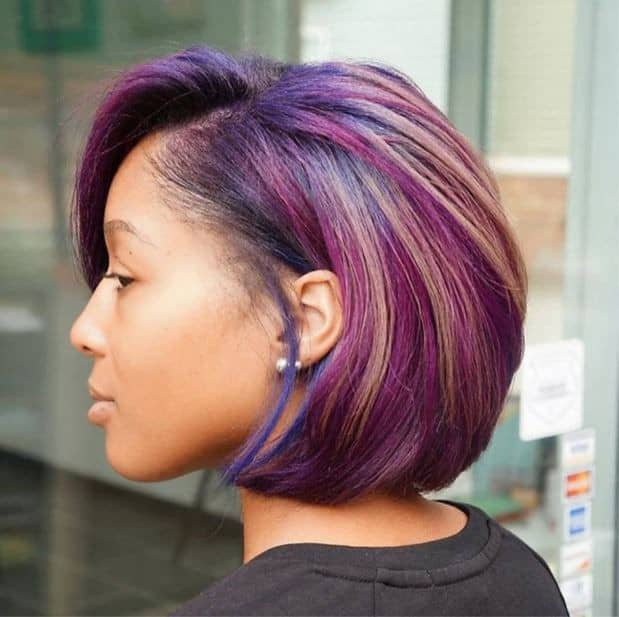 lady wearing dyed hair