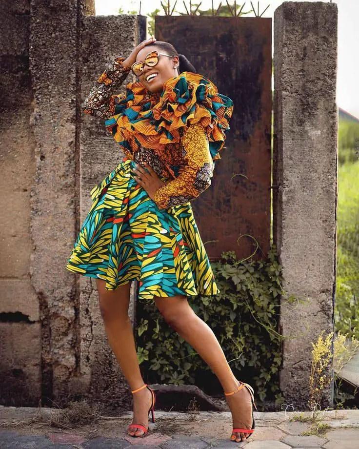 lady wearing beautiful mixed ankara fabric gown