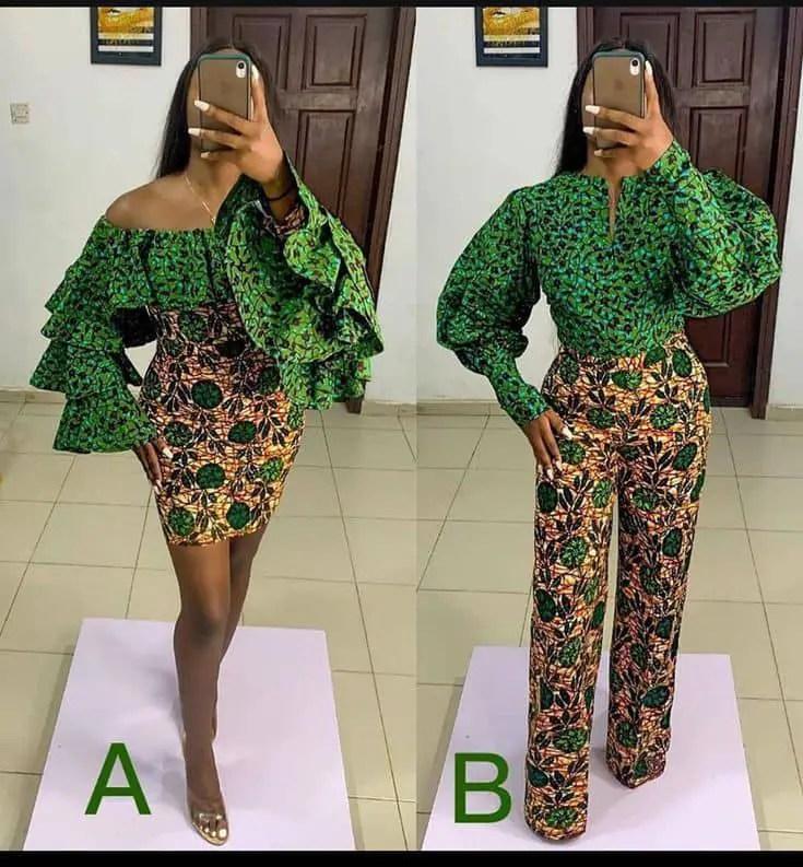 lady wearing mixed ankara outfits