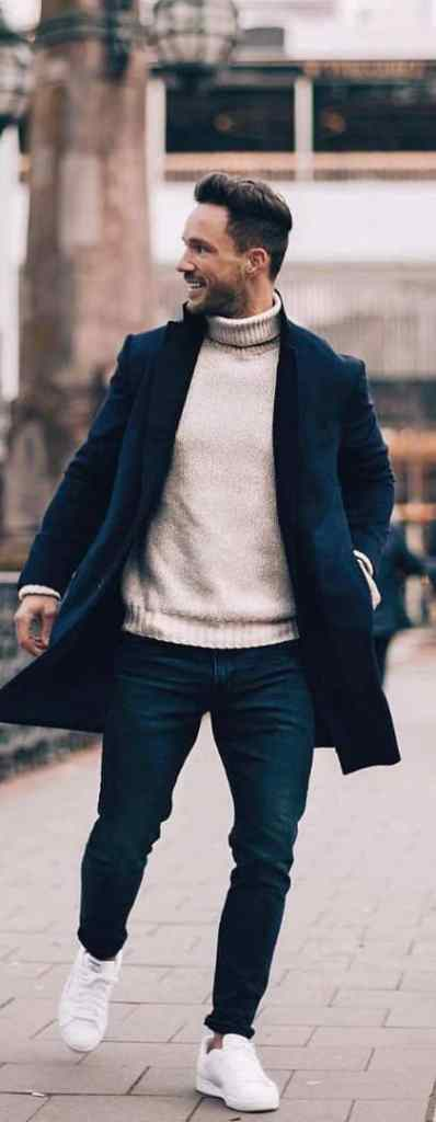 man wearing dark coat