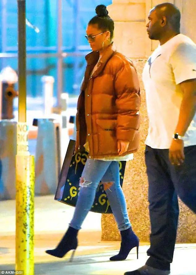 Rihanna wearing winter jacket