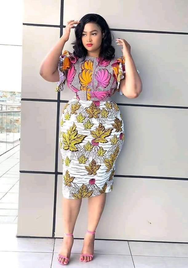 pretty lady in ankara mix outfit