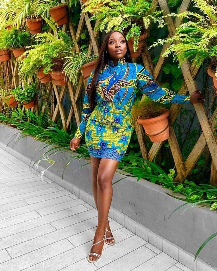 lady wearing same color ankara mix outfit