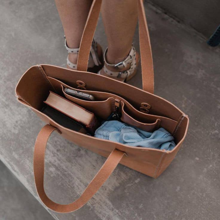 content of a leather bag