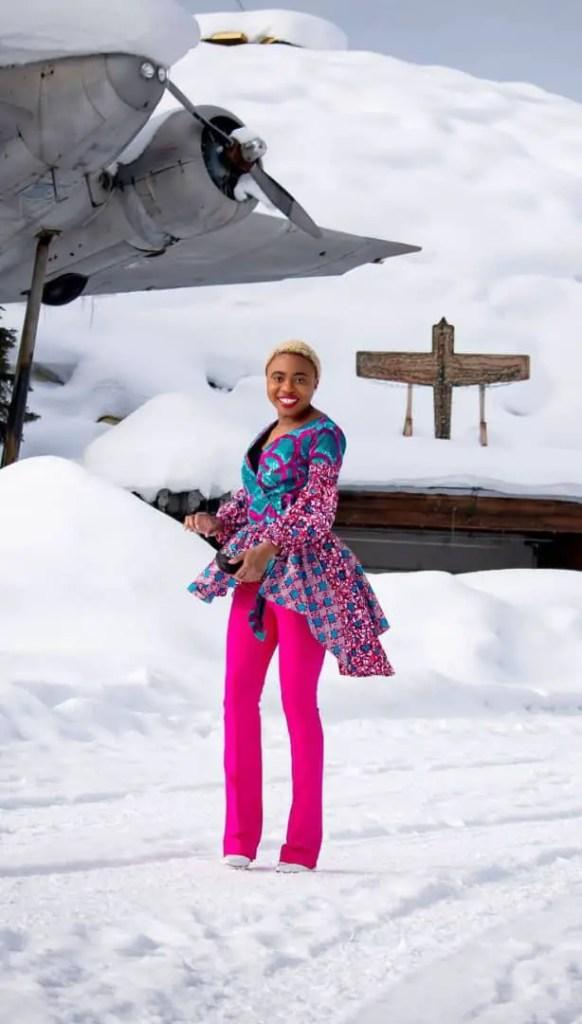 lady wearing high-low ankara top in snow