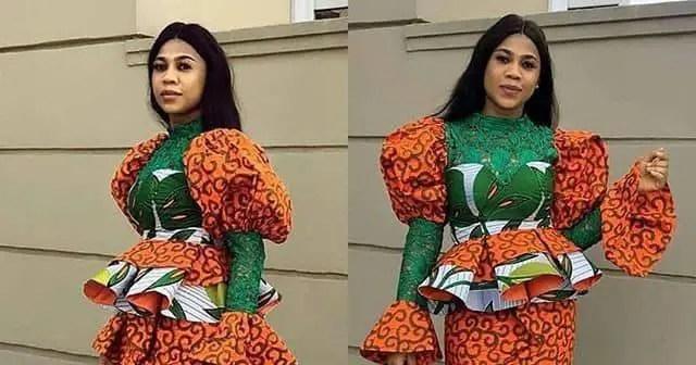 lady wearing mix print peplum top